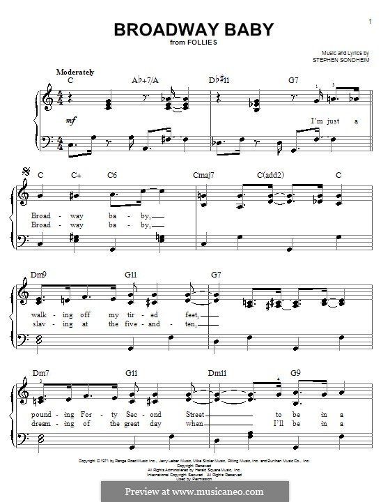 Broadway Baby: Для фортепиано (легкий уровень) by Stephen Sondheim