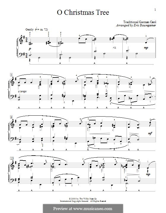 O Christmas Tree, for Piano: With fingering by folklore