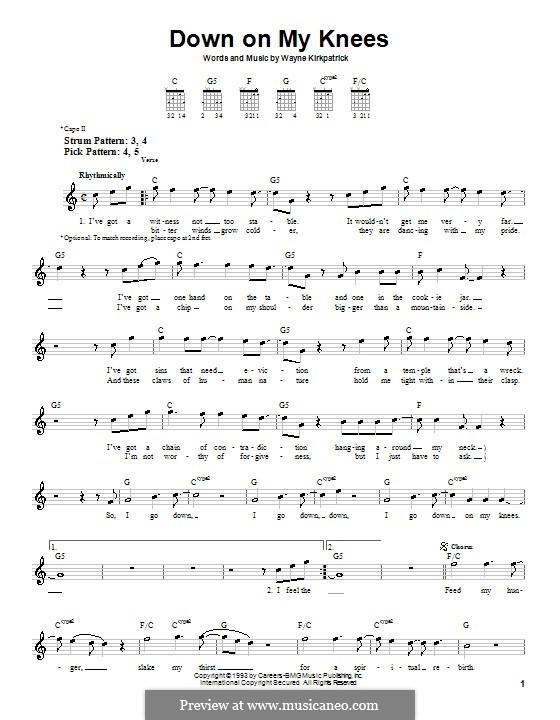 Down On My Knees: Для гитары (очень легкая версия) by Wayne Kirkpatrick