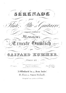Серенада для флейты, альта и гитары, Op.83: Серенада для флейты, альта и гитары by Каспар Куммер