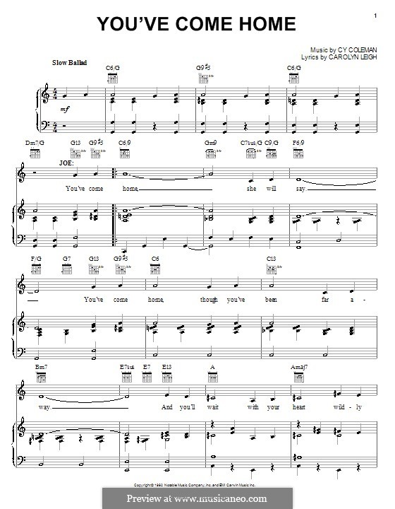 You've Come Home: Для голоса и фортепиано (или гитары) by Cy Coleman