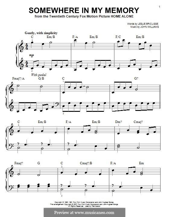 Somewhere in My Memory: Для начинающего пианиста by John Williams