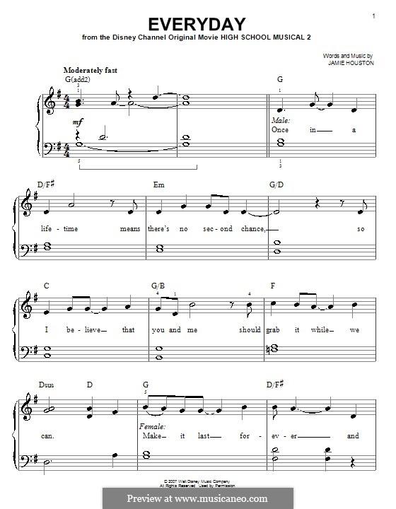 Everyday (High School Musical 2): Для фортепиано (легкий уровень) by Jamie Houston