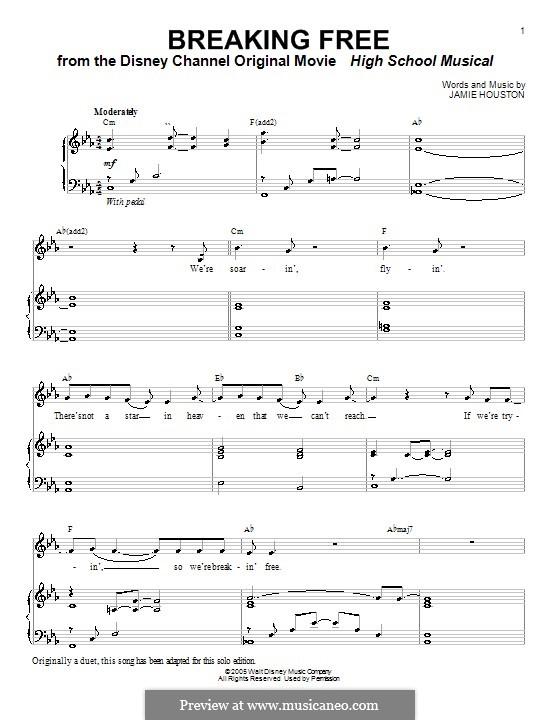 Breaking Free (from High School Musical): Для голоса и фортепиано или гитары (Vanessa Hudgens and Zac Efron) by Jamie Houston