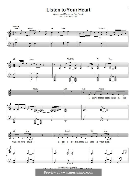 Listen to Your Heart (D.H.T.): Для голоса и фортепиано (или гитары) by Mats Persson, Per Gessle