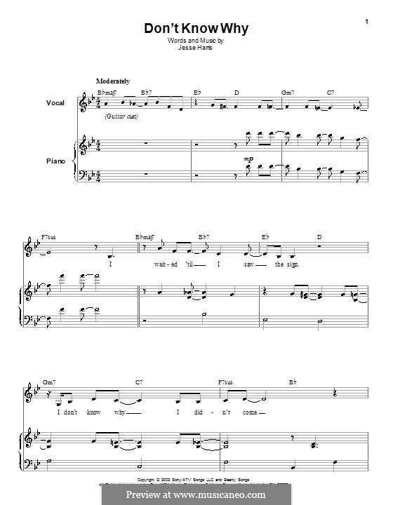 Don't Know Why (Norah Jones): Для голоса и фортепиано (или гитары) by Jesse Harris