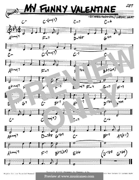 My Funny Valentine: Мелодия и аккорды - инструменты in C by Richard Rodgers
