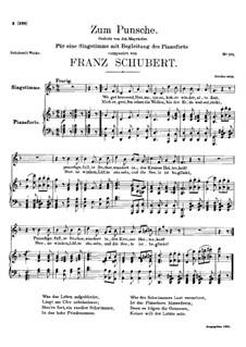 Zum Punsche (In Praise of Punch), D.492: Zum Punsche (In Praise of Punch) by Франц Шуберт