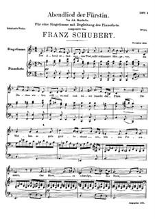 Abendlied der Fürstin (The Princess's Evening Song), D.495: F Major by Франц Шуберт