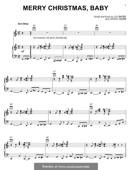 Merry Christmas, Baby: Для голоса и фортепиано или гитары (Elvis Presley) by Johnny Moore, Lou Baxter