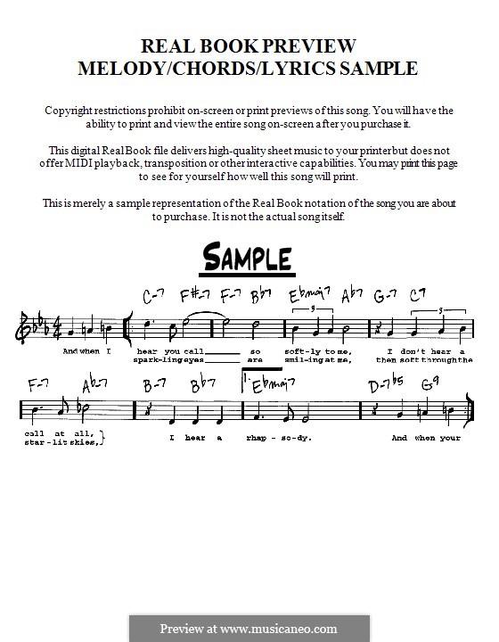 Tenderly: Мелодия, текст и аккорды - инструменты in C by Walter Gross