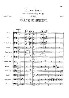 Увертюра для оркестра в итальянском стиле ре мажор, D.590: Партитура by Франц Шуберт