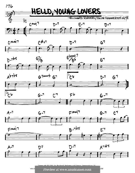 Hello, Young Lovers: Мелодия и аккорды - басовый ключ by Richard Rodgers