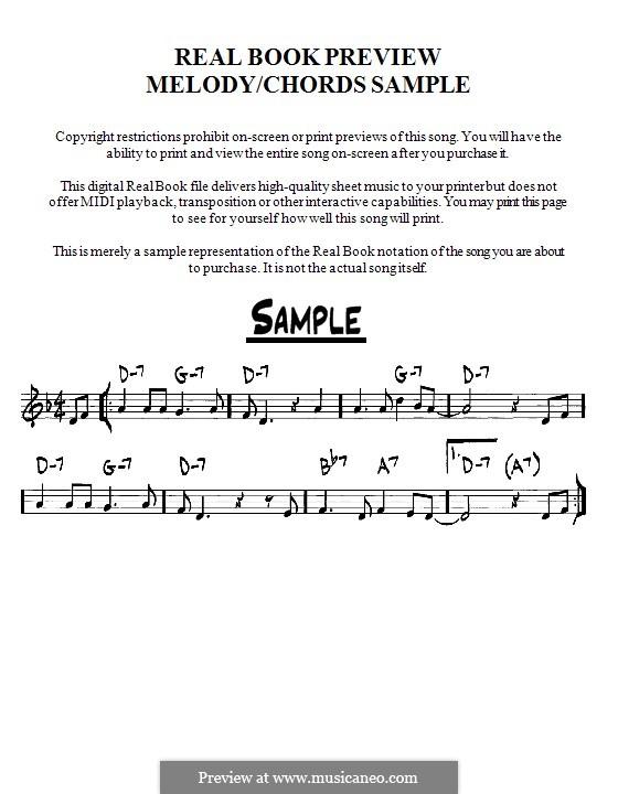 My Foolish Heart: Мелодия и аккорды - басовый ключ by Victor Young