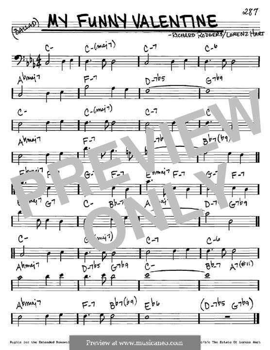 My Funny Valentine: Мелодия и аккорды - басовый ключ by Richard Rodgers