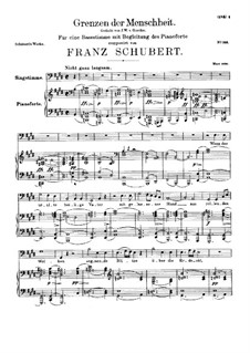 Grenzen der Menschheit (Man's Limitations), D.716: For voice and piano by Франц Шуберт