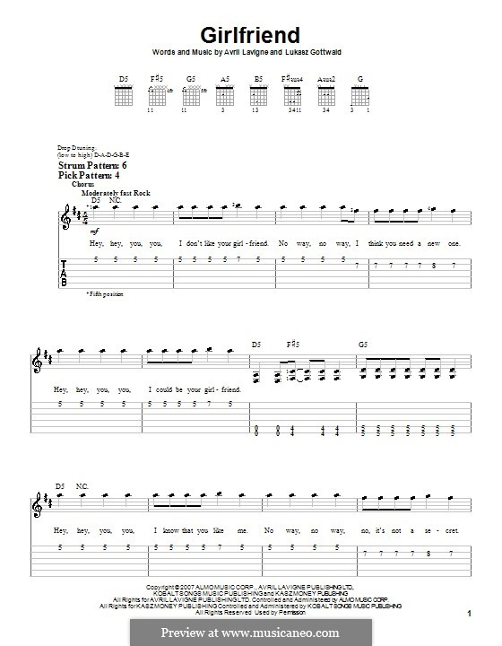Girlfriend (Avril Lavigne): Для гитары (очень легкая версия) by Lukas Gottwald