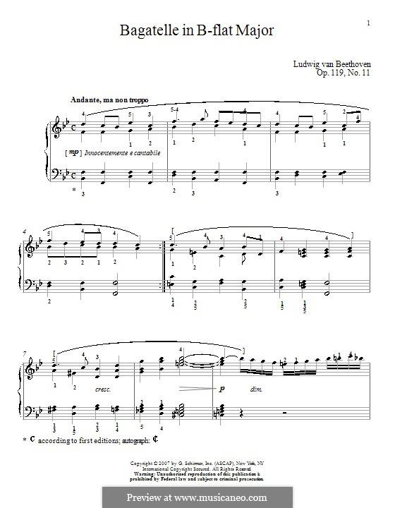 Одиннадцать новых багателей для фортепиано, Op.119: Багатель No.11 by Людвиг ван Бетховен