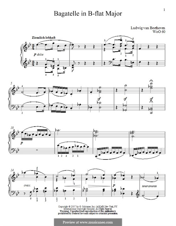 Багатель си-бемоль мажор, WoO 60: Для фортепиано by Людвиг ван Бетховен