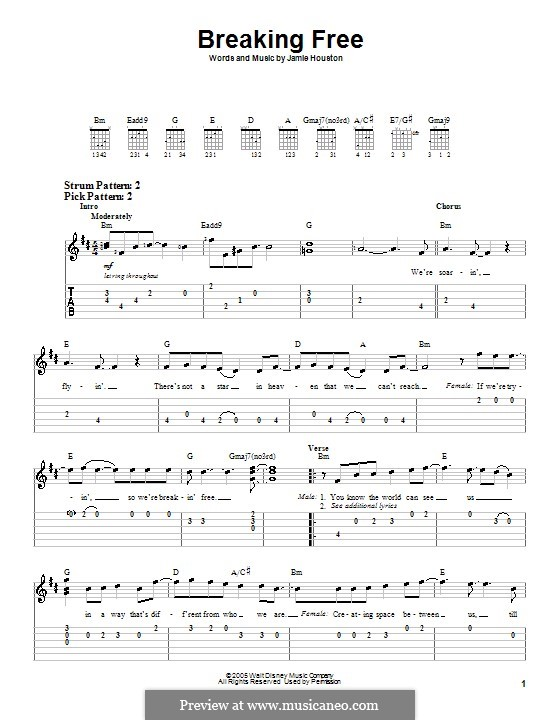 Breaking Free (from High School Musical): For easy guitar with tab (Vanessa Hudgens and Zac Efron) by Jamie Houston