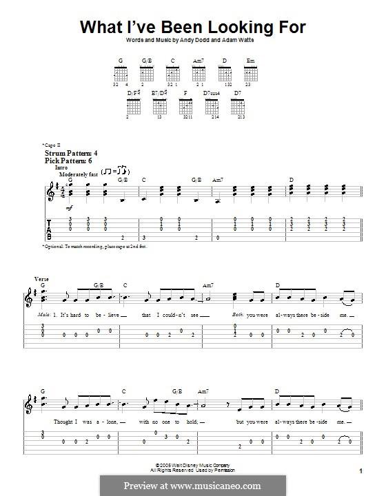 What I've Been Looking for (High School Musical): Для гитары (очень легкая версия) by Adam Watts, Andrew Dodd