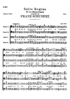 Salve Regina, D.811 Op.149: Salve regina by Франц Шуберт