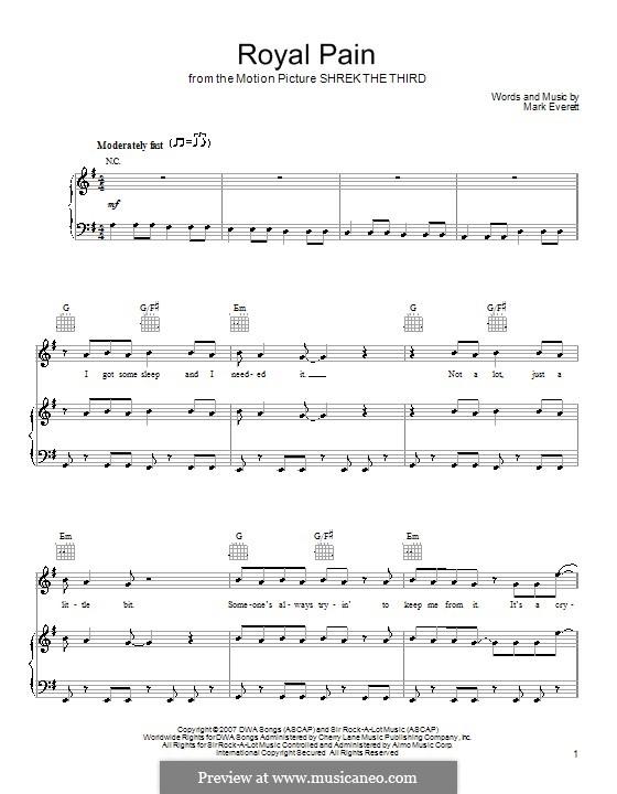 Royal Pain (Eels): Для голоса и фортепиано (или гитары) by Mark Everett