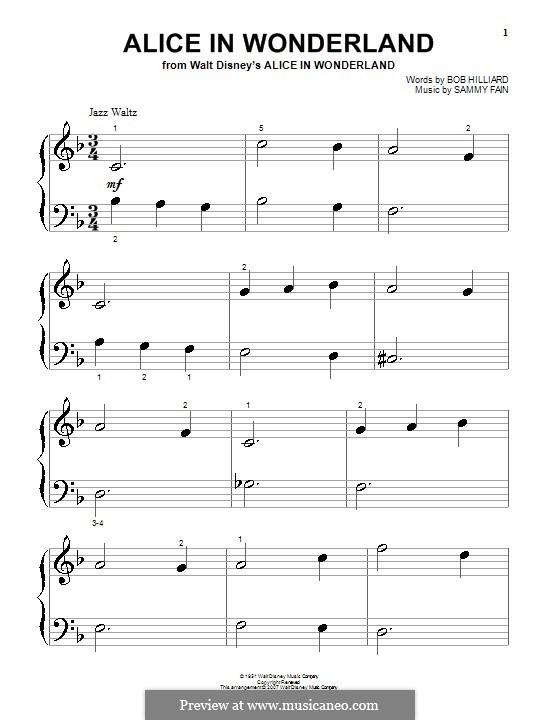 Alice in Wonderland (Bill Evans): Для фортепиано (очень легкая версия) by Bob Hilliard, Sammy Fain