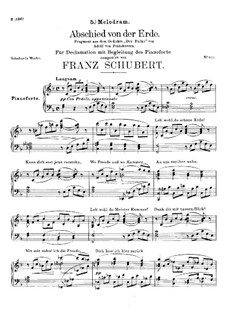 Abschied von der Erde (Farewell to the Earth), D.829: F Major by Франц Шуберт