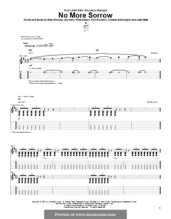 No More Sorrow (Linkin Park): Гитарная табулатура by Brad Delson, Charles Bennington, David Farrell, Joseph Hahn, Mike Shinoda, Rob Bourdon