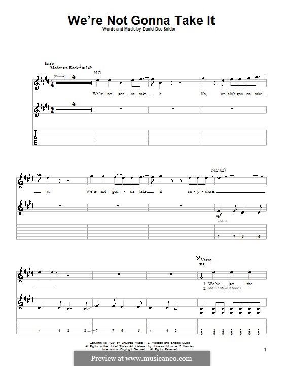We're Not Gonna Take It (Twisted Sister): Для гитары с табулатурой by Daniel Dee Snider