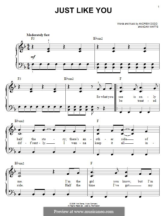 Just Like You (Hannah Montana): Для фортепиано (легкий уровень) by Adam Watts, Andrew Dodd
