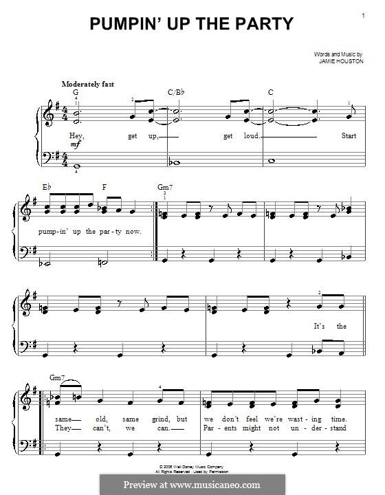 Pumpin' Up the Party (Hannah Montana): Для фортепиано (легкий уровень) by Jamie Houston