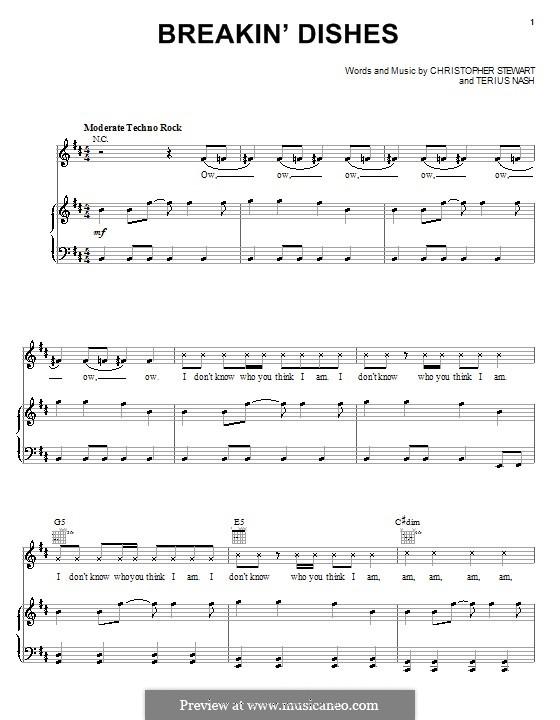 Breakin' Dishes (Rihanna): Для голоса и фортепиано (или гитары) by Tricky Stewart , Terius Nash