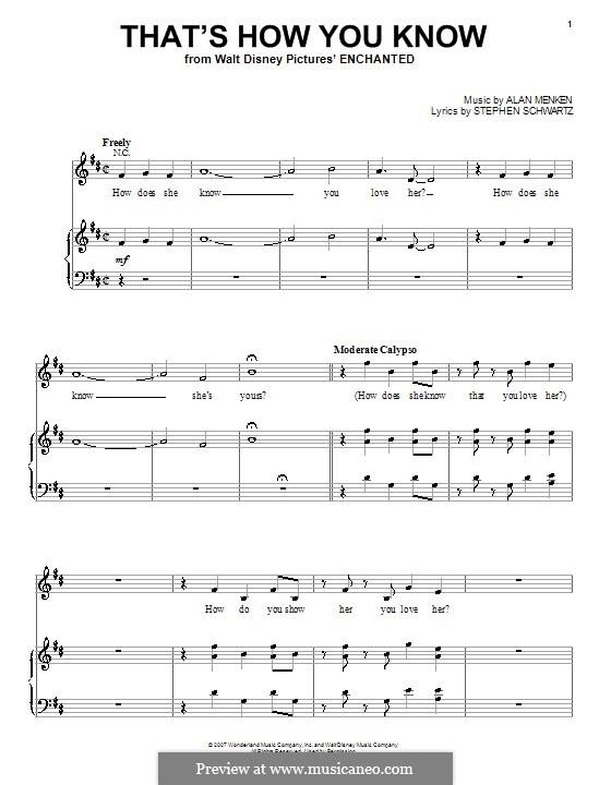 That's How You Know: Для голоса и фортепиано (или гитары) by Alan Menken