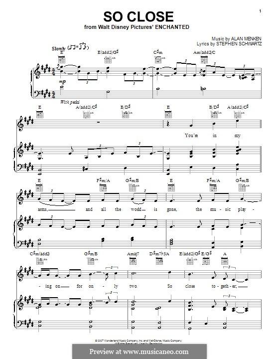 So Close: Для голоса и фортепиано (или гитары) by Alan Menken