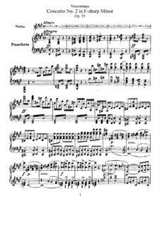 Концерт для скрипки с оркестром No.2 'Sauret', Op.19: Версия для скрипки и фортепиано by Анри Вьетан
