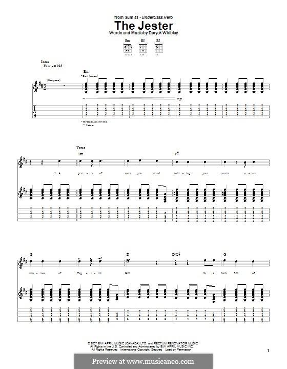 The Jester (Sum 41): Для гитары с табулатурой by Deryck Whibley