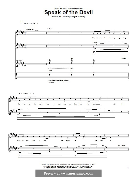 Speak of the Devil (Sum 41): Для гитары с табулатурой by Deryck Whibley
