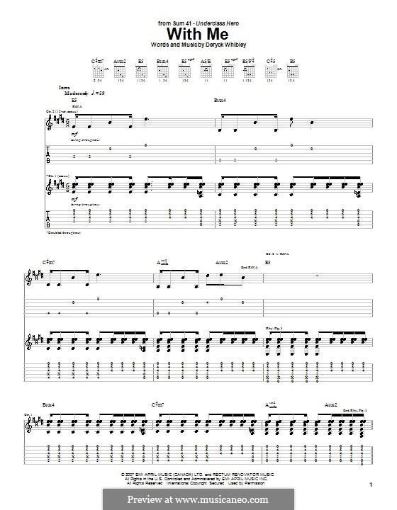 With Me (Sum 41): Для гитары с табулатурой by Deryck Whibley
