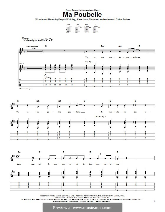 Ma Poubelle (Sum 41): Гитарная табулатура by China Forbes, Deryck Whibley, Steve Jocz, Thomas Lauderdale