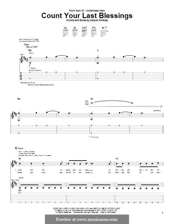 Count Your Last Blessings (Sum 41): Для гитары с табулатурой by Deryck Whibley