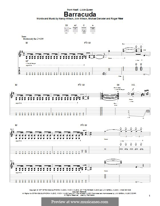 Barracuda (Heart): Гитарная табулатура by Ann Wilson, Michael Derosier, Nancy Wilson, Roger Fisher