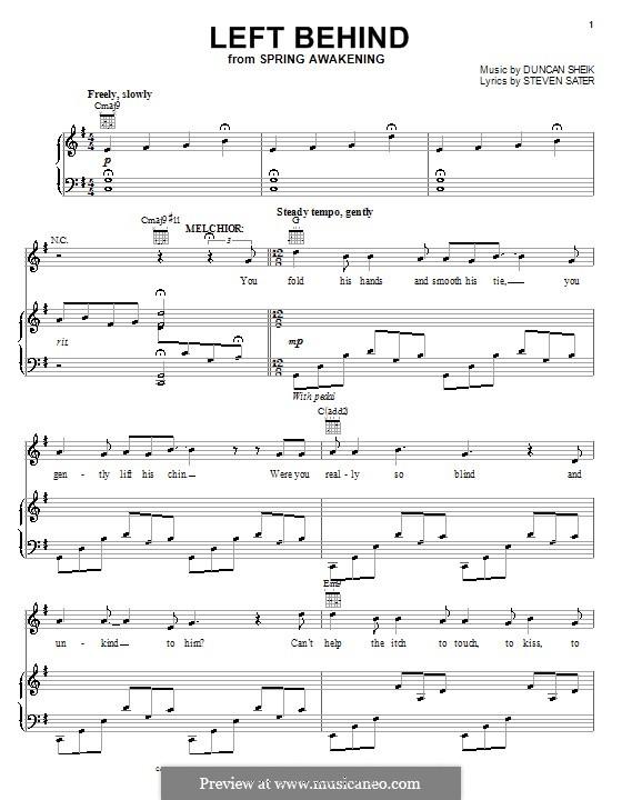 Left Behind: Для голоса и фортепиано (или гитары) by Duncan Sheik