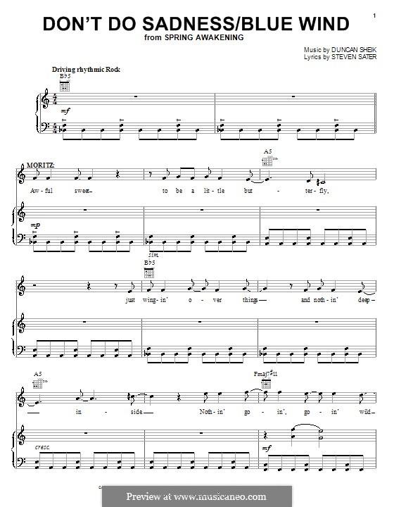 Don't Do Sadness/Blue Wind: Для голоса и фортепиано (или гитары) by Duncan Sheik