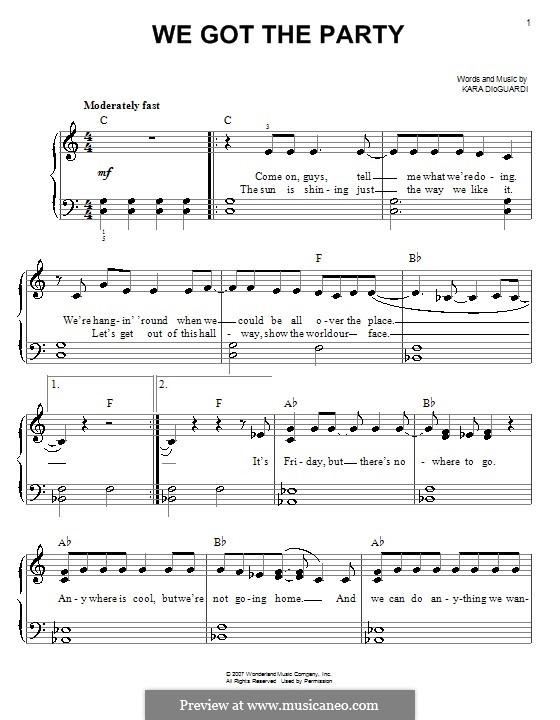 We Got the Party (Hannah Montana): Для фортепиано (легкий уровень) by Kara DioGuardi