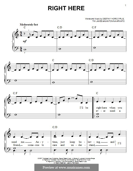 Right Here (Hannah Montana): Для фортепиано (легкий уровень) by Antonina Armato, Destiny Hope Cyrus, Timothy James