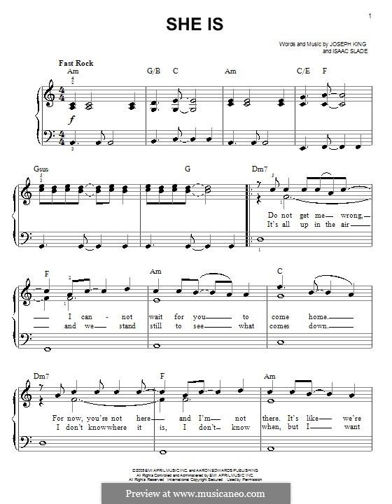 She Is (The Fray): Для фортепиано (легкий уровень) by Isaac Slade, Joseph King