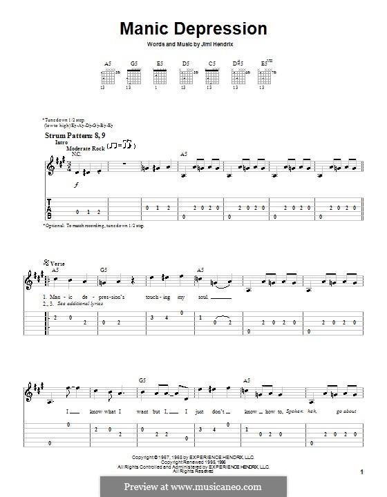 Manic Depression: Для гитары (очень легкая версия) by Jimi Hendrix