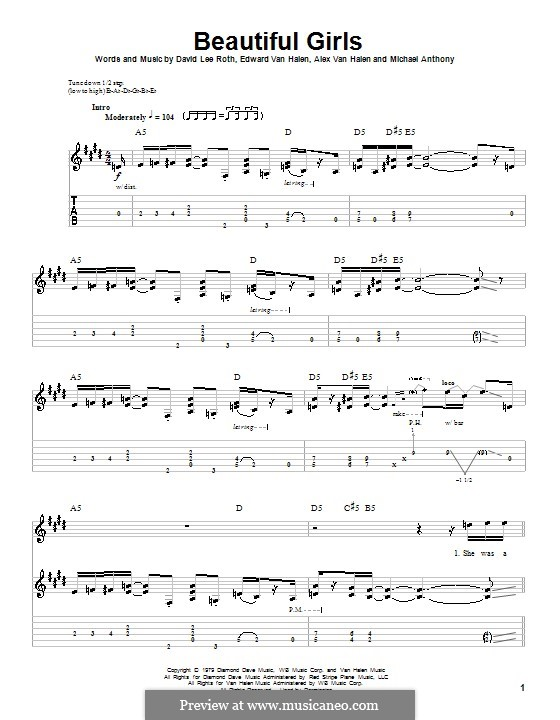 Beautiful Girls (Van Halen): Для гитары с табулатурой by Alex Van Halen, David Lee Roth, Edward Van Halen, Michael Anthony